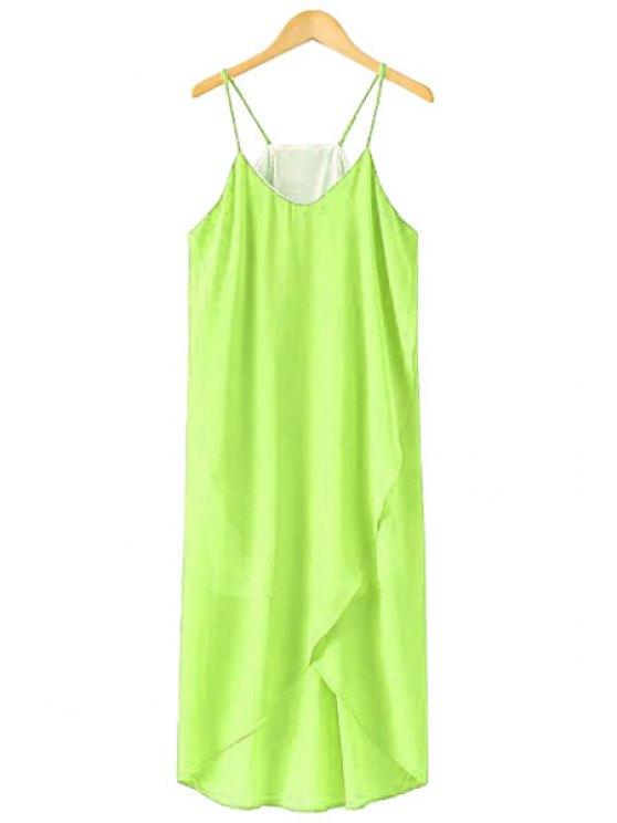 chic Spaghetti Strap Solid Color Asymmetrical Dress - GREEN M