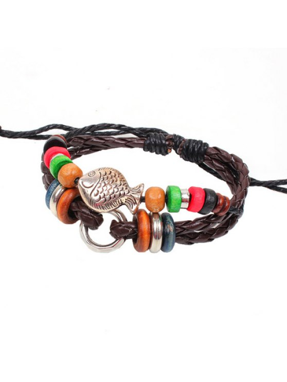 womens Chic Colored Beads Fish Decorated Bracelet For Women - BROWN