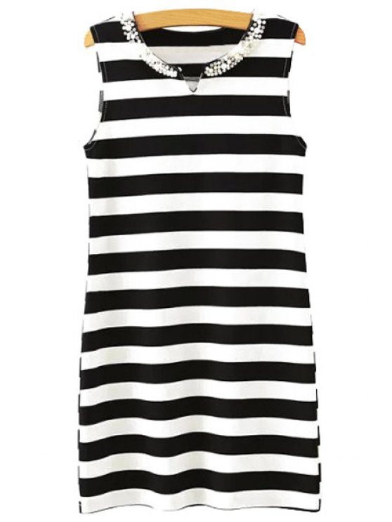 shop Stripe Faux Pearl Sleeveless Dress - WHITE AND BLACK S
