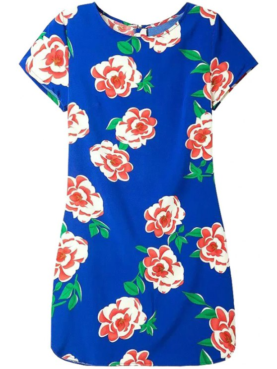 best Red Floral Print Back Zipper Dress - BLUE S