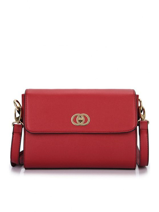 online PU Leather Solid Color Crossbody Bag - WINE RED