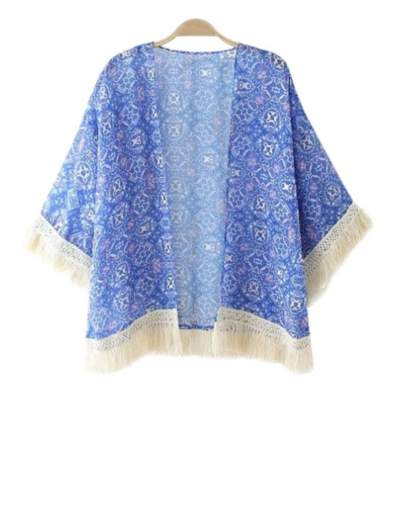 chic Blue Print Tassel Splicing 3/4 Sleeve Coat - BLUE ONE SIZE(FIT SIZE XS TO M)