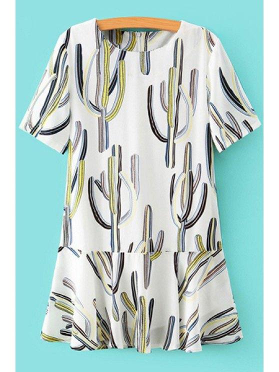 fashion Cactus Print Short Sleeve Dress - WHITE S