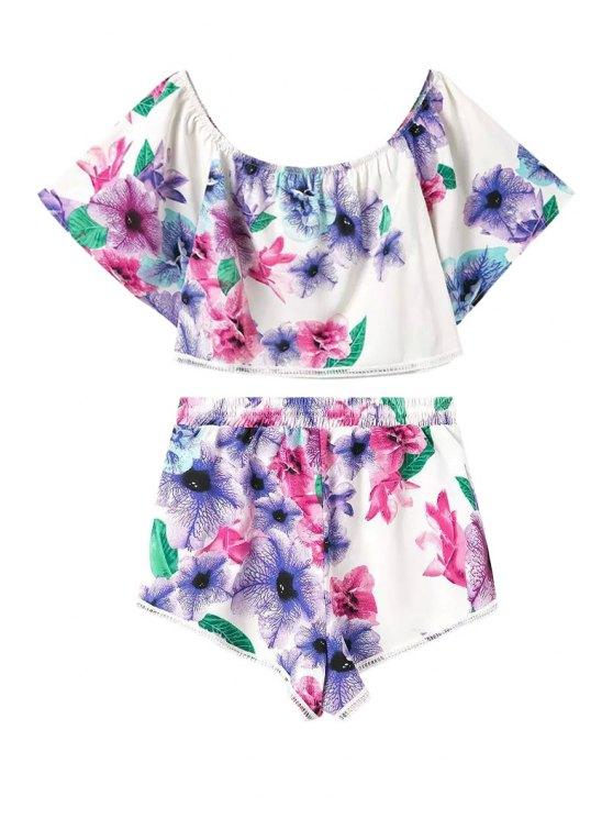 ladies Floral Print Short Sleeve Crop Top + Shorts - COLORMIX S