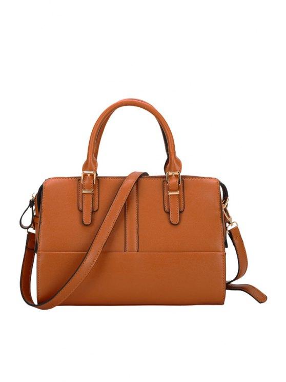 trendy Solid Color Buckle Tote Bag - BROWN