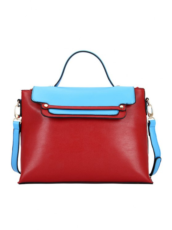 affordable Rivets Color Block Crossbody Bag - RED