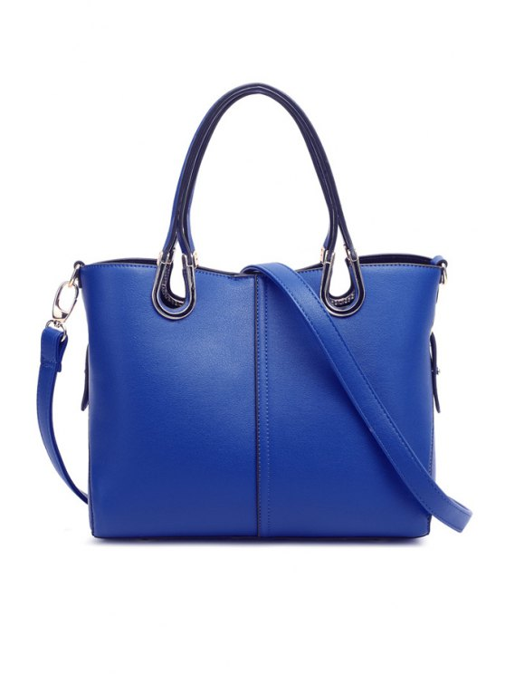women's Hollow Out Solid Color Tote Bag - SAPPHIRE BLUE