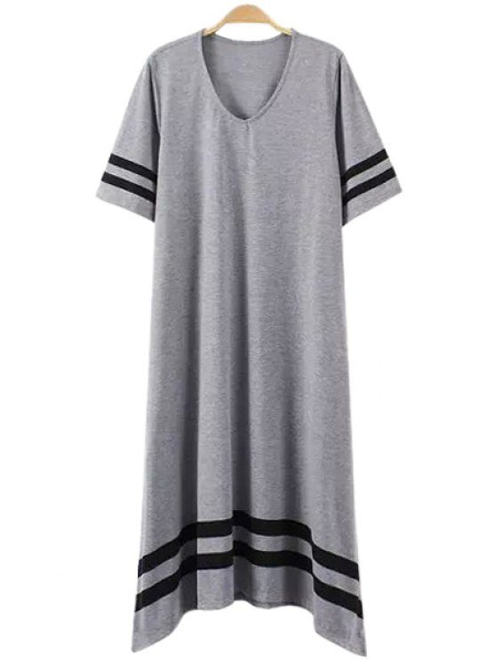 outfit Scoop Neck Stripe Short Sleeve Dress - GRAY M
