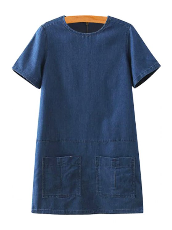 chic Short Sleeve Solid Color Denim Dress - PURPLISH BLUE XS