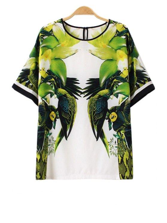 women's Parrot Print Short Sleeve T-Shirt - GREEN S