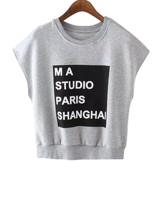 best Short Sleeve Letter Pattern T-Shirt - GRAY S