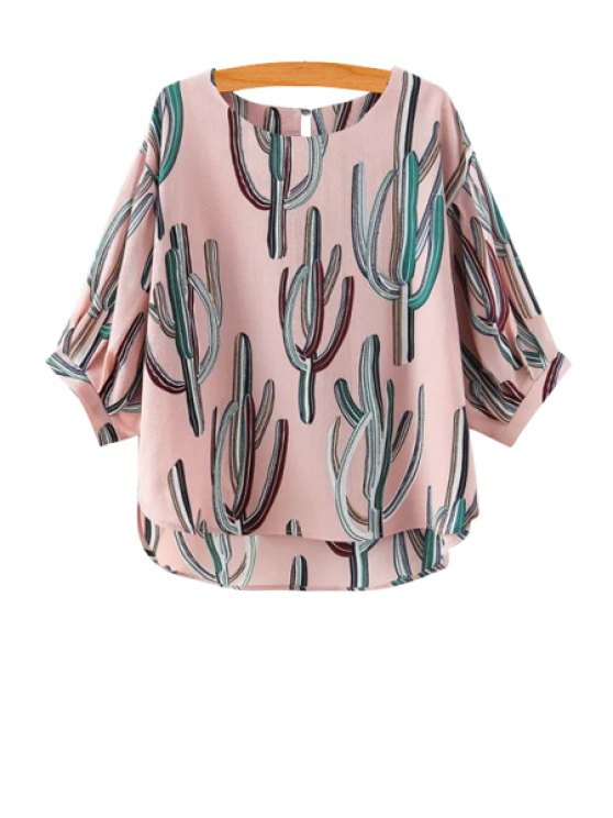 fancy Cactus Print Half Sleeve Blouse - PINK S