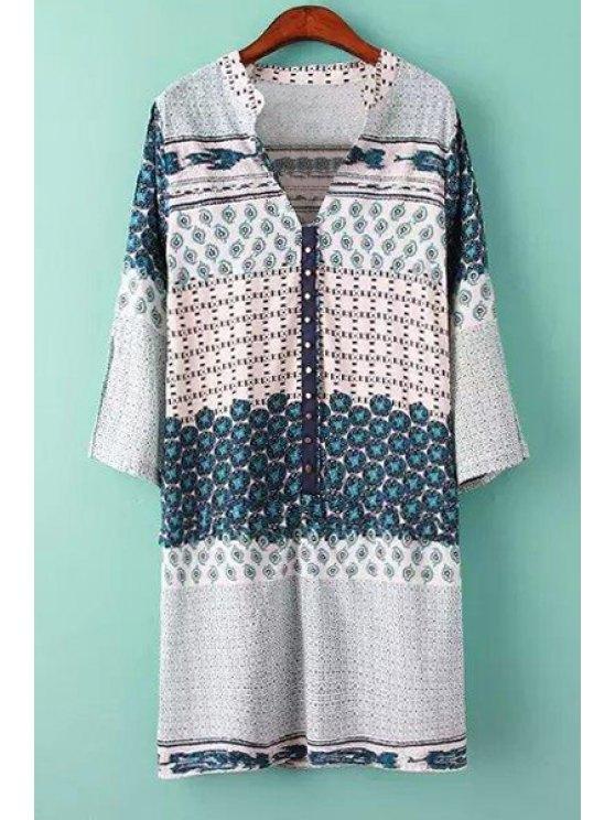 latest Print Spliced V Neck Dress - BLUE S
