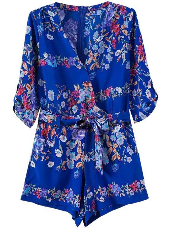 buy V Neck Floral Print Tie-Up Romper - BLUE S