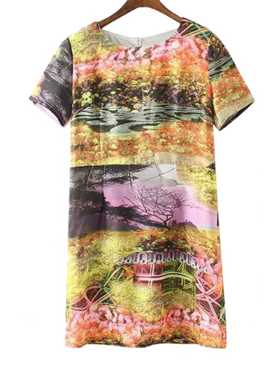 affordable Scenery Print Short Sleeves Dress - COLORMIX M