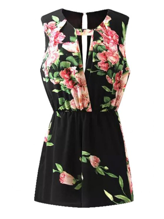 women Flower Print Sleeveless Romper - BLACK S