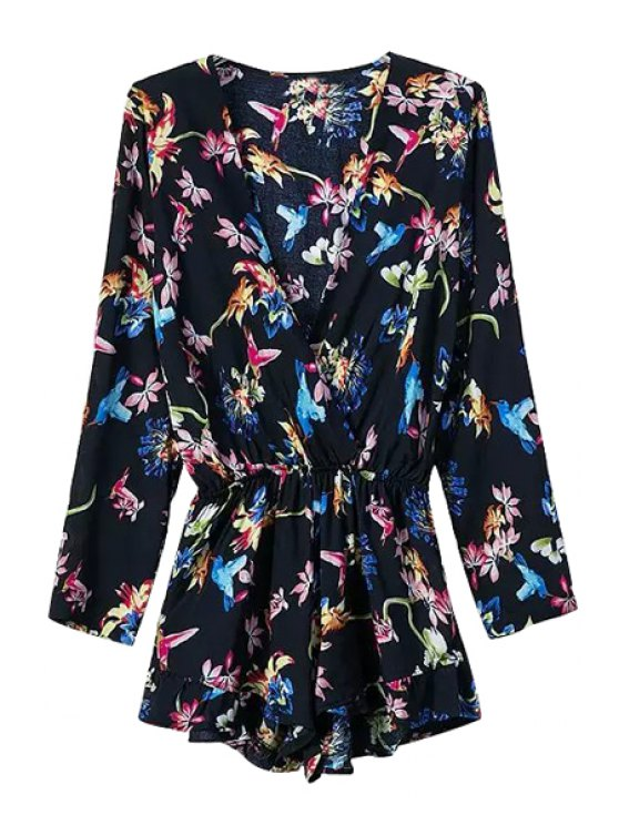 new Floral Long Sleeve Plunging Neck Romper - BLACK S
