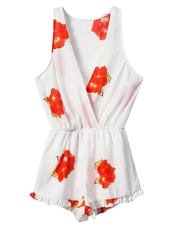 outfits Floral Plunging Neck Sleeveless Romper - RED S