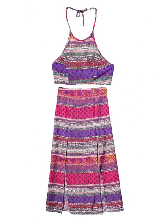 outfit Ethnic Print Halter Crop Top and Skirt Suit - COLORMIX S