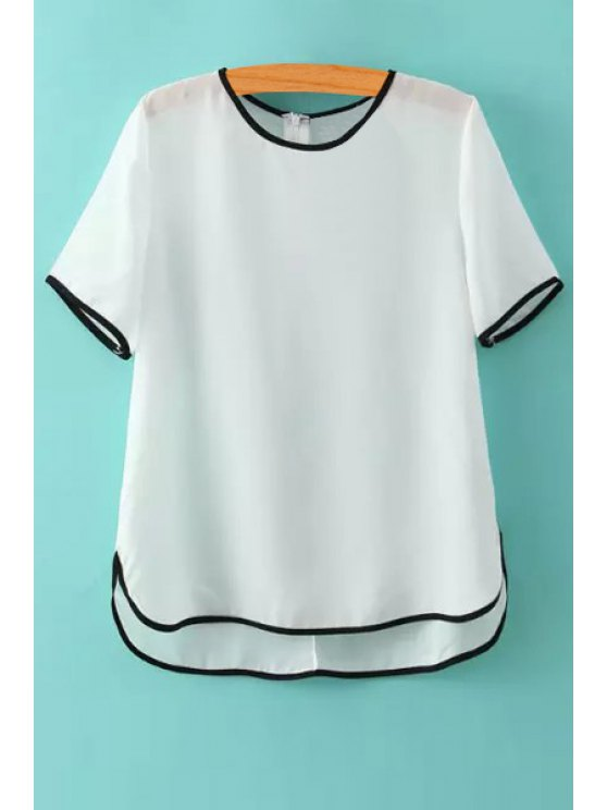 shop Color Block Chiffon Short Sleeves T-Shirt - WHITE S