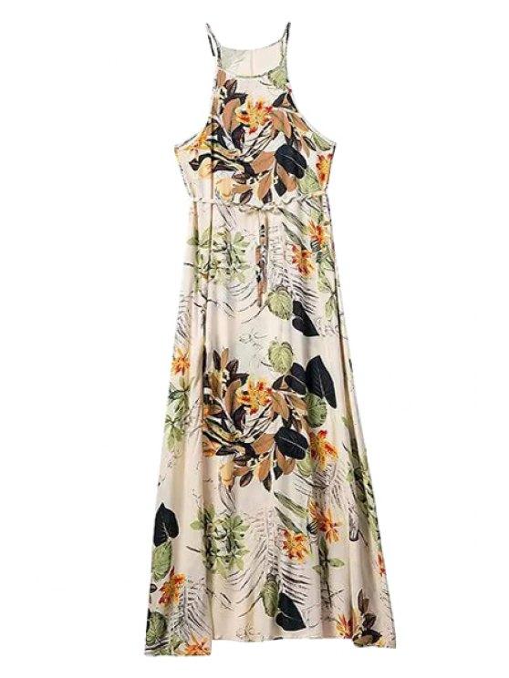 women's Floral Drawstring Spaghetti Straps Maxi Dress - COLORMIX S