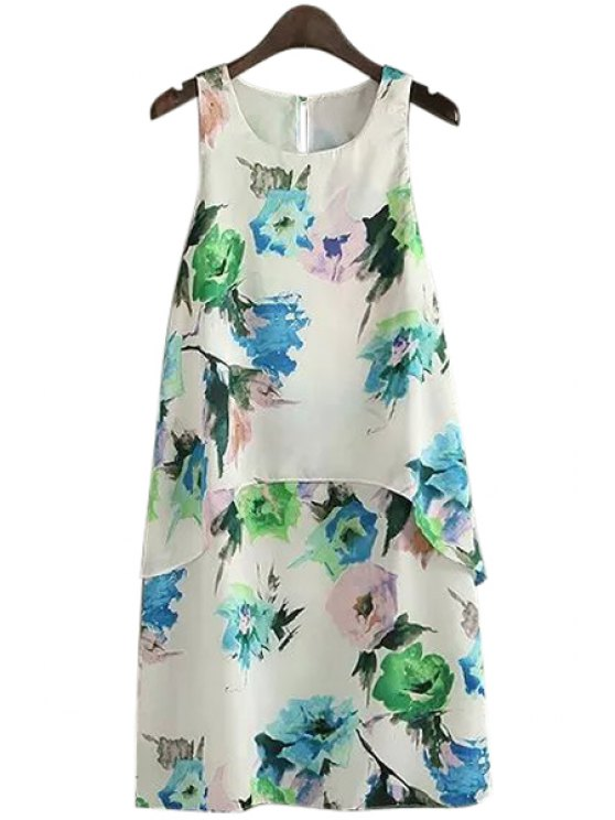 fancy Floral Print Multi-Layered Sleeveless Dress - WHITE S