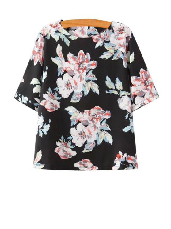 trendy Flower Print Chiffon Short Sleeve T-Shirt - BLACK S