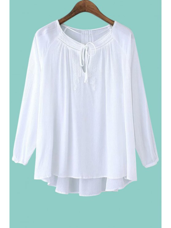 unique Openwork Tie-Up Ruffle Solid Color Shirt - WHITE S