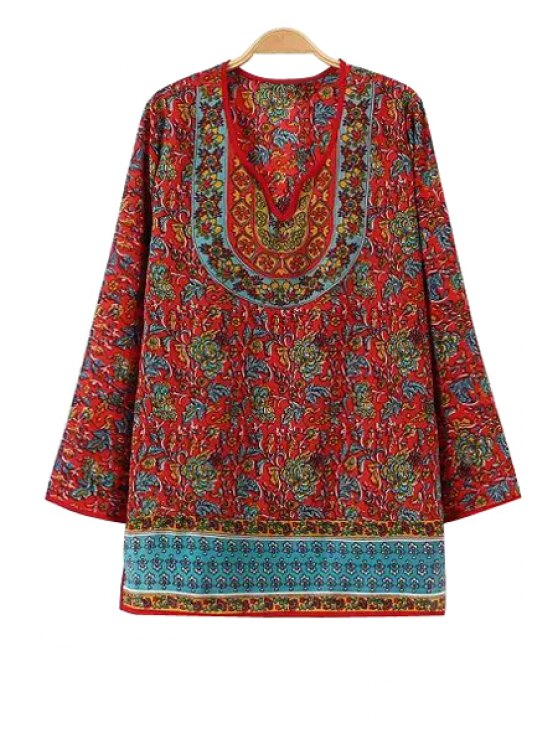 lady Ethnic Floral Print Long Sleeve Blouse - COLORMIX S