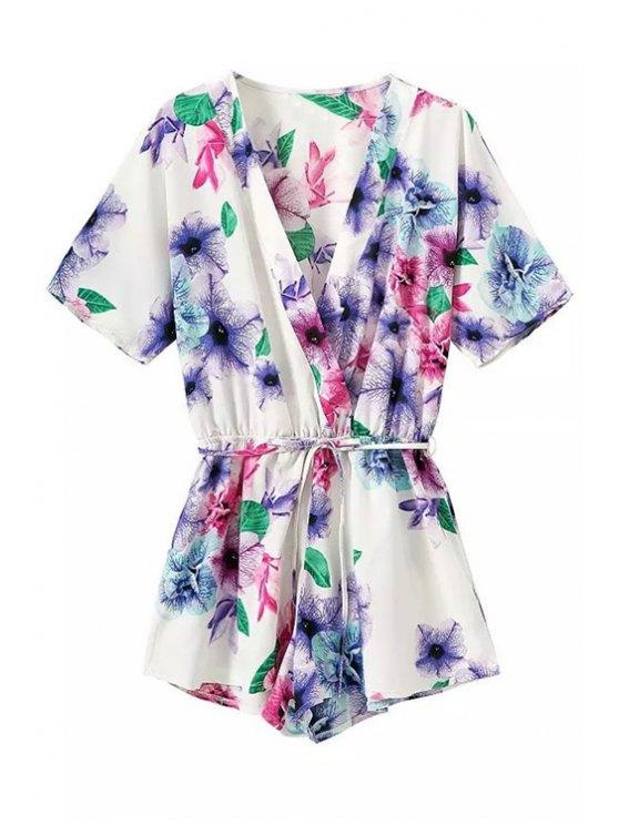 buy Floral Short Sleeve Drawstring Romper - WHITE S