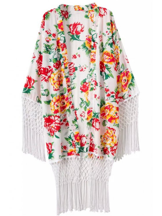 new Flower Print Tassels Long Sleeve Blouse - WHITE ONE SIZE(FIT SIZE XS TO M)