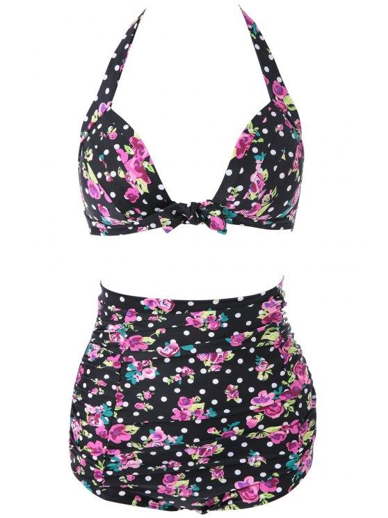 sale Floral Halter High Waisted Bikini Set - BLACK M