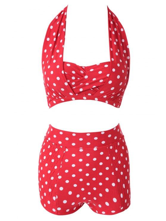 buy Red Polka Dots Halter Bikini Set - RED M