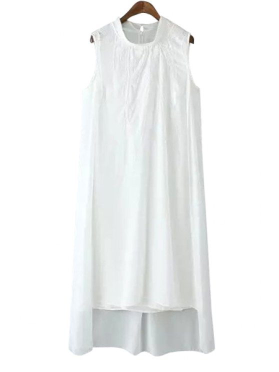 sale Embroidery Solid Color Asymmetrical Dress - WHITE S