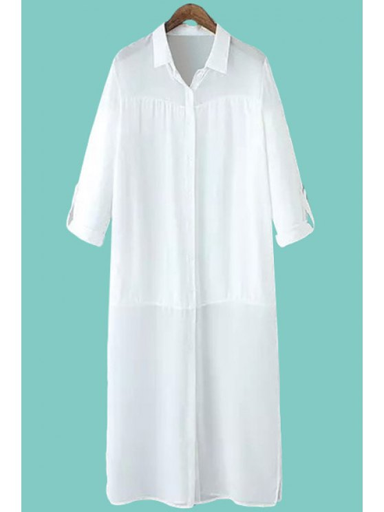 trendy Solid Color Chiffon Shirt Neck Dress - WHITE S
