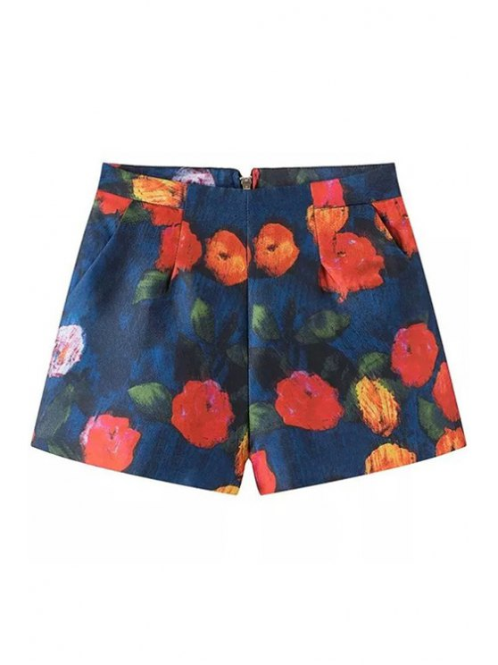 hot Floral Pattern Wide Leg Shorts - COLORMIX S