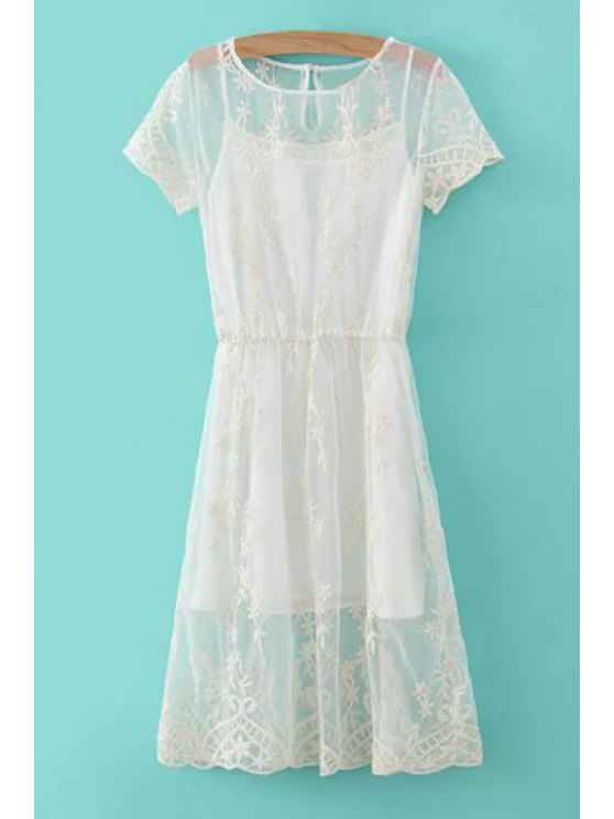 womens Floral Pattern Openwork Dress + Solid Color Tank Top - WHITE S