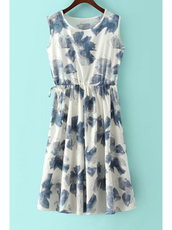 hot Jewel Neck Floral Print Tie-Up Dress - BLUE ONE SIZE(FIT SIZE XS TO M)