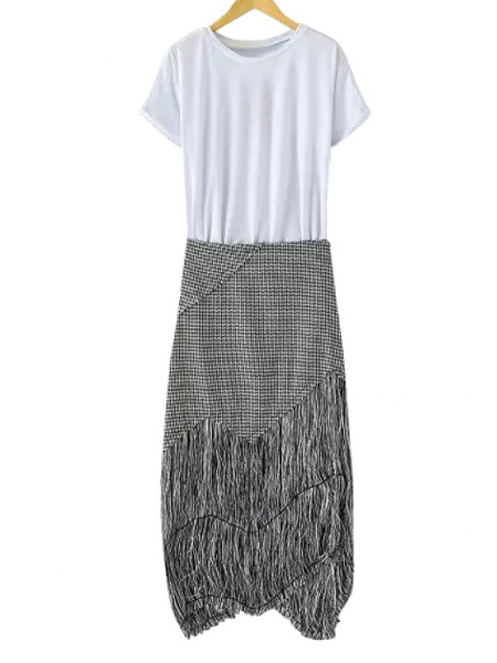 outfit Solid Color T-Shirt + Houndstooth Fringe Skirt - WHITE AND BLACK S