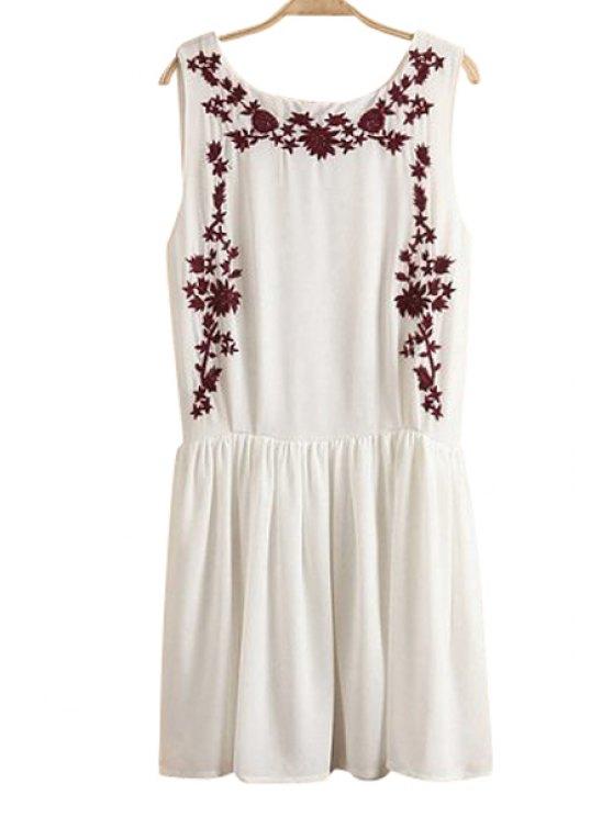 shops Embroidery Ruffle Sleeveless Dress - WHITE S