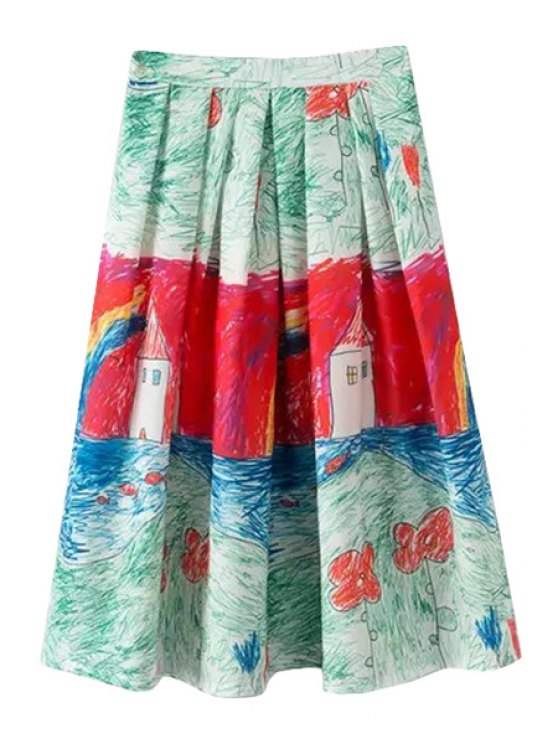 fashion Painting Print A-Line Skirt - COLORMIX M