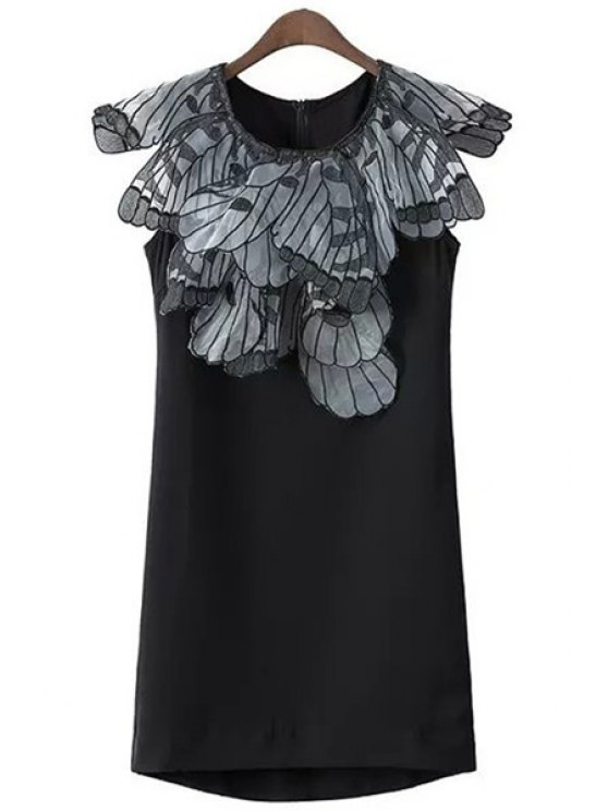 outfit Embroidery Wing Spliced Dress - BLACK S