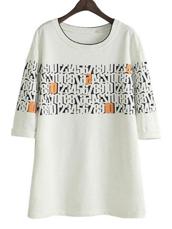new Number Print Half Sleeves Dress - WHITE S