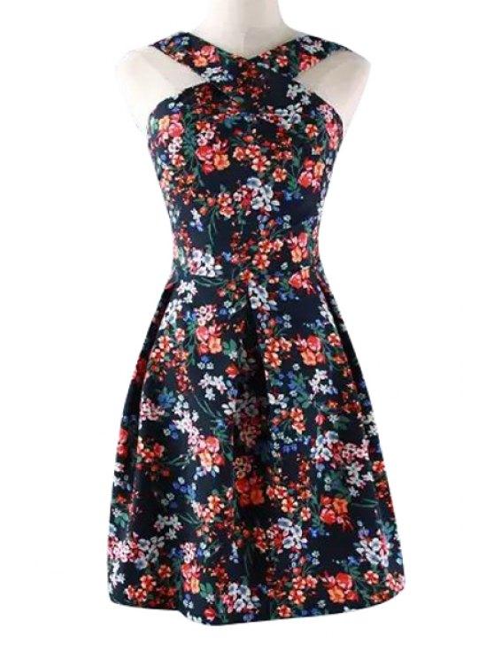 shops Cross V-Neck Floral Print Off-The-Shoulder Dress - JACINTH S