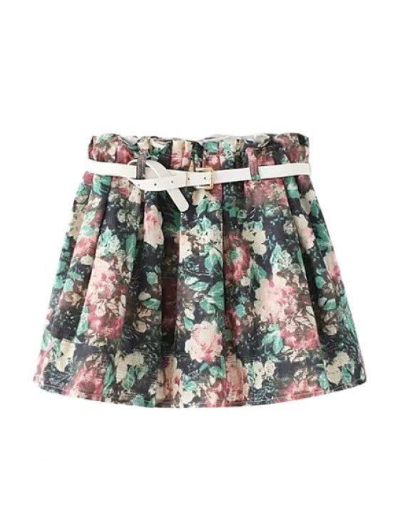shops Floral Print Belt Elastic Waist Skirt - COLORMIX ONE SIZE(FIT SIZE XS TO M)