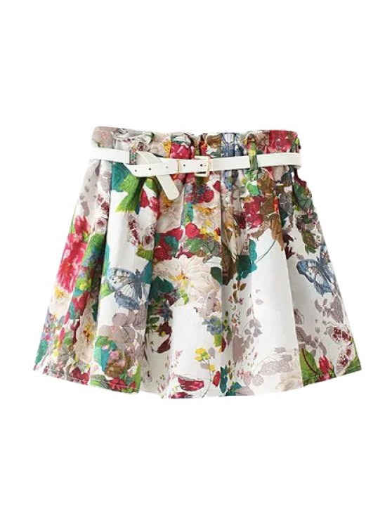 latest Butterfly Floral Print Belt Elastic Waist Skirt - COLORMIX ONE SIZE(FIT SIZE XS TO M)