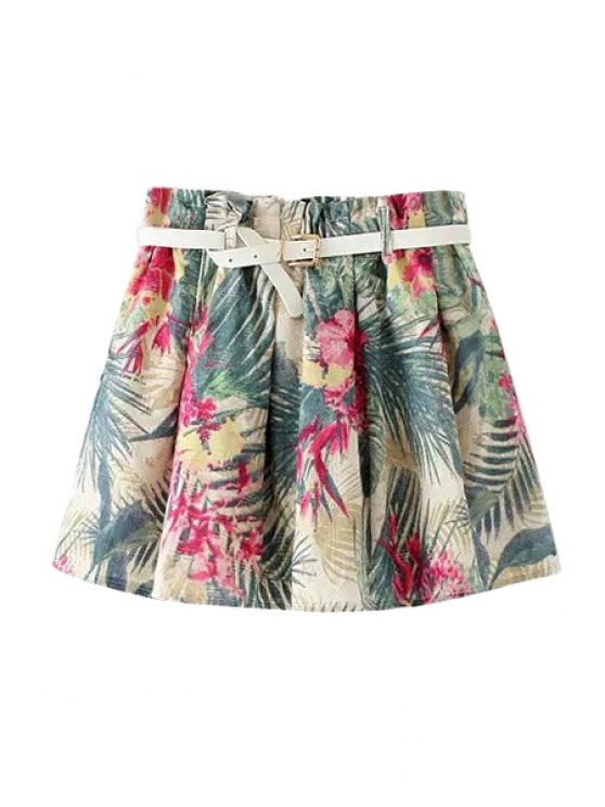 trendy Floral Leaves Print Belt Elastic Waist Skirt - BLACKISH GREEN ONE SIZE(FIT SIZE XS TO M)