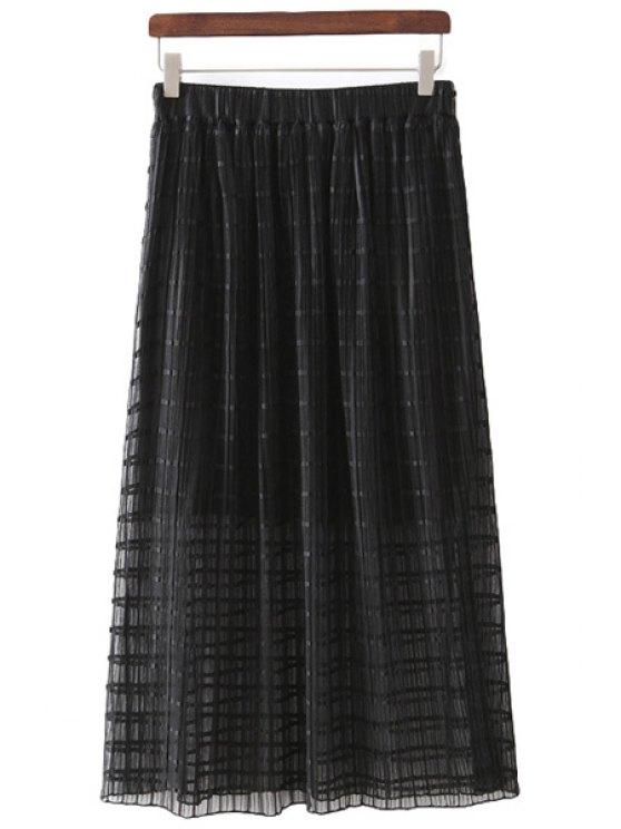 sale Checked Voile Spliced Skirt - BLACK M