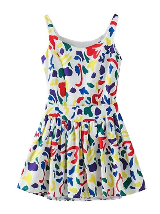 fashion Colorful Print Sleeveless Tank Top + Ruffle Skirt - RED S