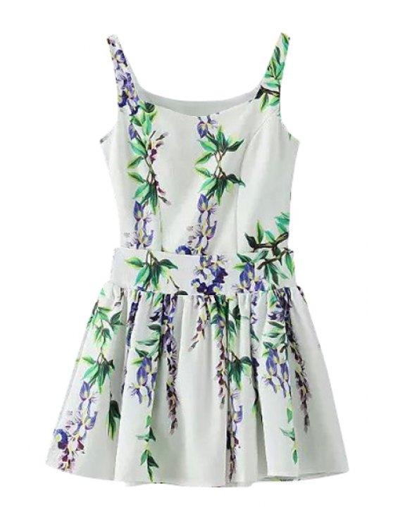 unique Floral Print Sleeveless Tank Top + Ruffle Skirt - GREEN S
